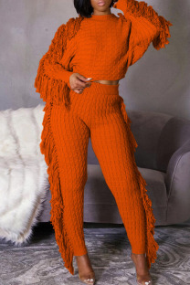 Tangerine Red Casual Street Solid Tassel Split Joint O Neck Long Sleeve Two Pieces