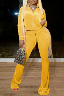 Yellow Casual Solid Split Joint Zipper Collar Long Sleeve Two Pieces