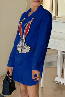 Deep Blue Fashion Casual Print Basic Turndown Collar Shirt Dress