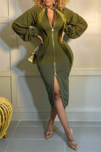 Army Green Fashion Casual Solid Split Joint Zipper Collar Long Sleeve Dresses