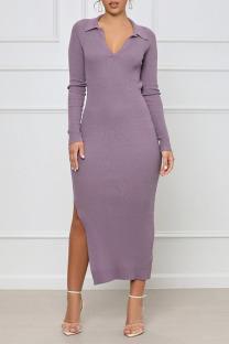 Light Purple Sexy Solid Split Joint Frenulum Backless Slit V Neck One Step Skirt Dresses