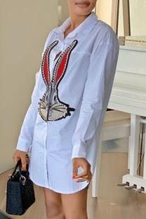 White Fashion Casual Print Basic Turndown Collar Shirt Dress