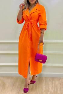 Orange Casual Elegant Solid Split Joint Buckle With Belt Turn-back Collar Shirt Dress Dresses