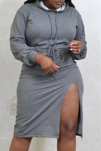 Grey Fashion Casual Solid Slit Hooded Collar Long Sleeve Plus Size Dresses