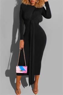 Black Fashion Casual Bandage O Neck Long Sleeve Dresses