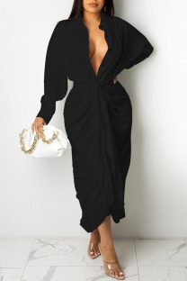 Black Casual Solid Split Joint Buckle Fold With Belt Turndown Collar Dresses
