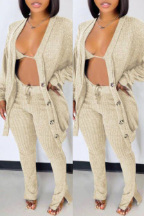 Apricot Fashion Casual Solid Cardigan Vests Pants Long Sleeve Three-piece Set