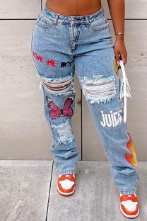 Blue Street Print Ripped Make Old Split Joint High Waist Straight Denim Jeans