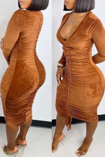 Brown Sexy Solid Split Joint Draw String Fold V Neck One Step Skirt Dresses