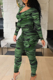 Colour Sexy Print Hollowed Out O Neck Skinny Jumpsuits