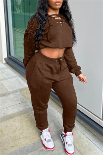 Brown Fashion Casual Solid Hollowed Out V Neck Long Sleeve Two Pieces