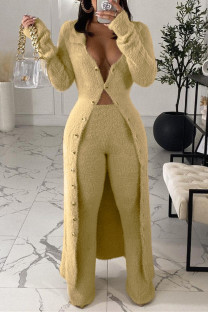 Beige Fashion Casual Solid Cardigan Pants V Neck Long Sleeve Two Pieces