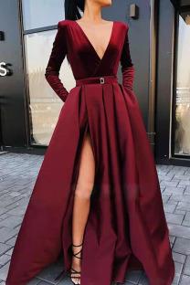 Burgundy Elegant Solid Split Joint V Neck A Line Dresses