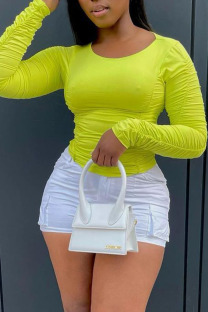 Fluorescent Color Casual Solid Split Joint Fold O Neck Tops