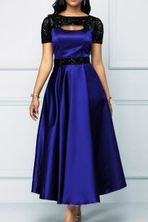 Blue Elegant Solid Split Joint  Sequins O Neck A Line Plus Size Dresses