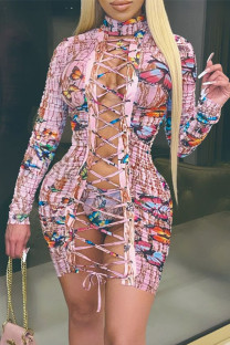 Pink Fashion Sexy Butterfly Print Bandage Hollowed Out Turtleneck Long Sleeve Dresses