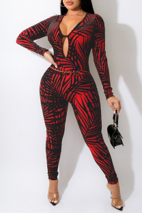 Red Fashion Casual Print Hollowed Out V Neck Long Sleeve Two Pieces