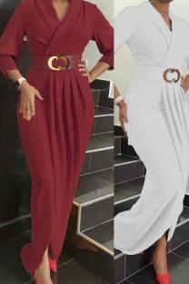 White Elegant Solid Split Joint Fold With Belt V Neck Long Sleeve Plus Size Dresses