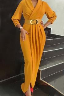 Yellow Elegant Solid Split Joint Fold With Belt V Neck Long Sleeve Plus Size Dresses
