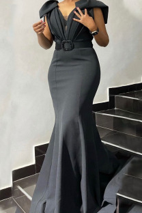 Black Elegant Solid Split Joint Fold V Neck Trumpet Mermaid Dresses