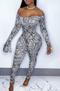 Silver Fashion Sexy Print Backless Off the Shoulder Skinny Jumpsuits