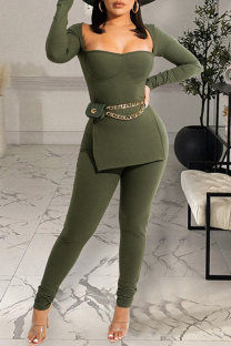 Grass Green Fashion Casual Solid Slit Square Collar Long Sleeve Two Pieces