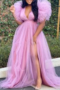 Pink Fashion Solid Slit V Neck Plus Size Dresses