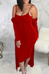 Red Casual Solid Split Joint Spaghetti Strap Long Sleeve Two Pieces