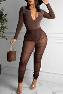Coffee Sexy Solid Split Joint See-through Fold V Neck Long Sleeve Two Pieces