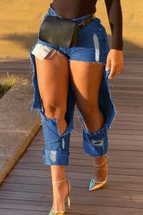 Deep Blue Street Solid Ripped Make Old Split Joint High Waist Straight Denim Jeans