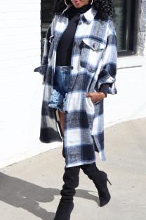 Black Fashion Casual Plaid Print Cardigan Turndown Collar Outerwear