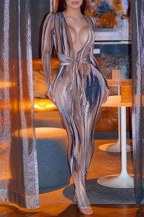 Multicolor Fashion Sexy Print Bandage V Neck Long Sleeve Dresses