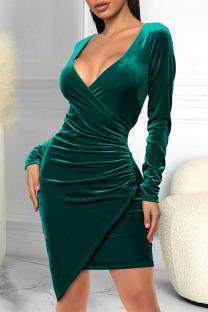 Green Sexy Solid Split Joint Fold Asymmetrical V Neck One Step Skirt Dresses