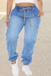 Baby Blue Fashion Casual Solid Basic High Waist Regular Denim Jeans