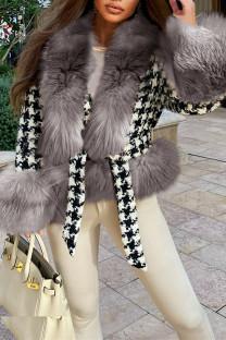 Grey Fashion Casual Patchwork Cardigan V Neck Outerwear