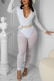 White Sexy Solid Split Joint See-through Fold V Neck Long Sleeve Two Pieces