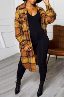 Yellow Fashion Casual Plaid Print Cardigan Turndown Collar Outerwear