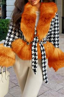 Orange Fashion Casual Patchwork Cardigan V Neck Outerwear