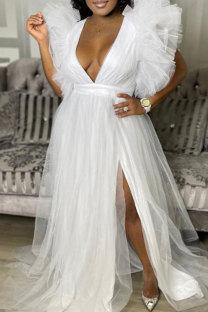 White Fashion Solid Slit V Neck Plus Size Dresses