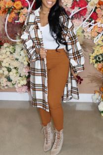 White Fashion Casual Plaid Print Cardigan Turndown Collar Outerwear