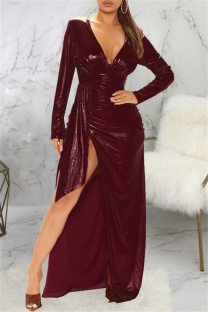 Brown Fashion Sexy Bronzing Slit V Neck Long Sleeve Dresses