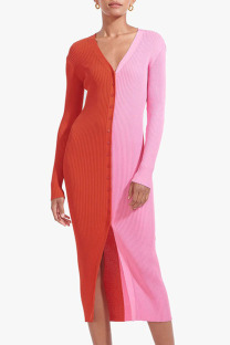 Pink Casual Solid Split Joint Buckle V Neck Straight Dresses