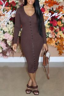 Dark Brown Casual Solid Split Joint Buckle V Neck One Step Skirt Dresses