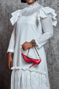 White Fashion Patchwork Tassel Hollowed Out See-through Half A Turtleneck Long Sleeve Two Pieces