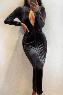 Black Sexy Solid Hollowed Out Split Joint Zipper Turtleneck One Step Skirt Dresses