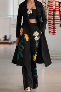 Black Casual Print Split Joint Turn-back Collar Long Sleeve Two Pieces