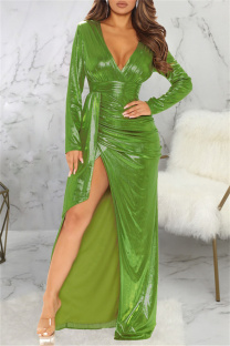 Green Fashion Sexy Bronzing Slit V Neck Long Sleeve Dresses