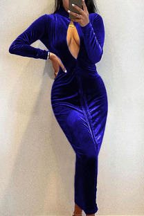 Blue Sexy Solid Hollowed Out Split Joint Zipper Turtleneck One Step Skirt Dresses