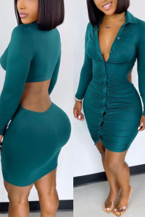 Green Sexy Solid Hollowed Out Split Joint Buckle Fold Turndown Collar One Step Skirt Dresses