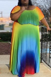Colour Fashion Casual Plus Size Print Flounce Fold O Neck Short Sleeve Pleated Dresses